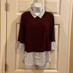 Elle sweater, with blouse edging combo! XS
